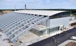 Vue extérieure du bâtiment ELI-NP qui abritera les expérimentations avec les sources lasers de grande puissance et le système gamma